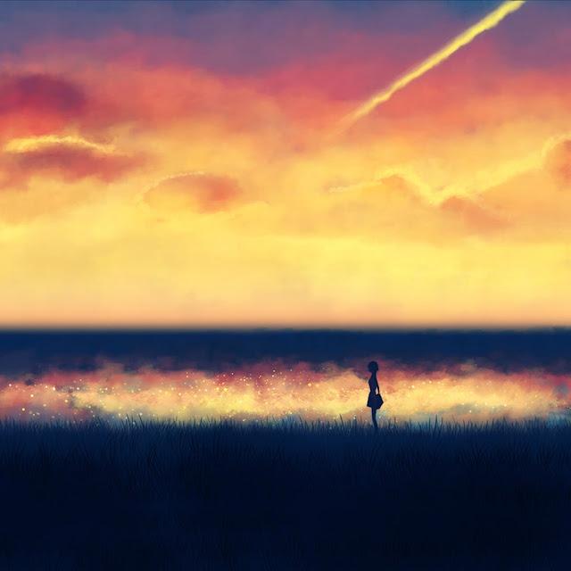 romantico, tramonto, wallpaper android, ragazza, prato