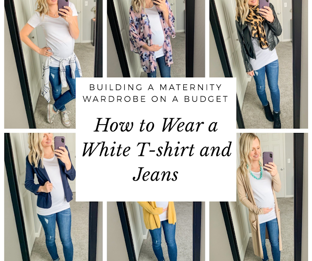 How to wear a maternity white t-shirt and maternity jeans