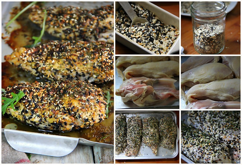 Everything Bagel Baked Chicken with Homemade Everything Bagel Recipe. #dinner