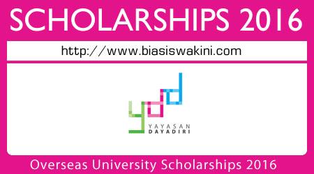 Yayasan Dayadiri Overseas University Scholarship 2016