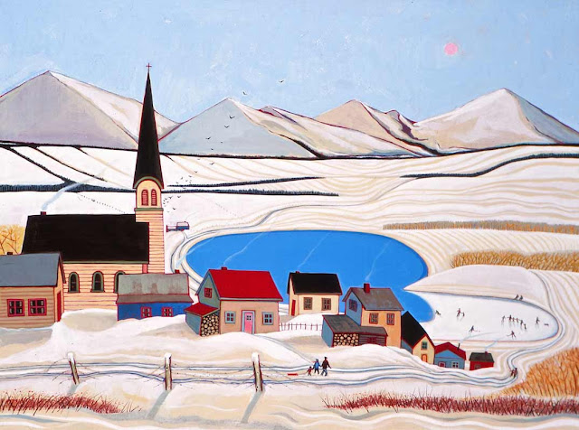 A painting by Michael O'Brien depicting a small Canadian town in winter.