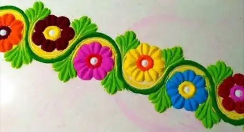 easy to make border rangoli kolam at doors image
