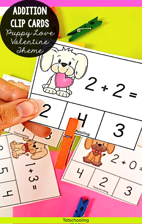 FREE Puppy themed addition cards for kindergarten kids. Perfect for a Valentine's Day math activity! Can be used with clips or clothes pins.