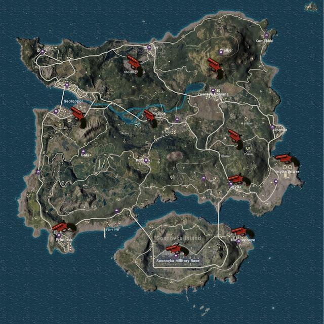 ERANGEL Haritasında En Çok İşaret Fişeği Çıkan Yerler