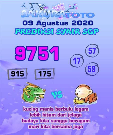 Prediksi Sakuratoto SGP Minggu 09 Agustus 2020