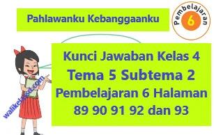Kunci Jawaban Kelas 4 Tema 5 Subtema 2 Pembelajaran 6 Halaman 89 90 91 92 dan 93