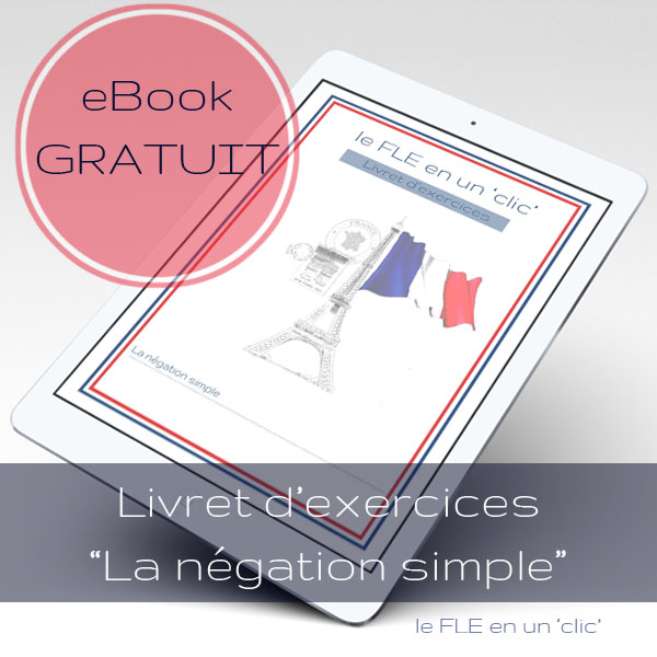 la negation simple en français, ebook gratuit livret d'exercices