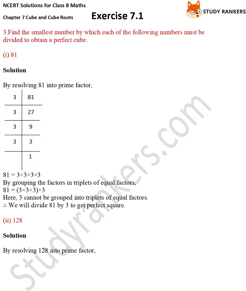 NCERT Solutions for Class 8 Maths Ch 7 Cube and Cube Roots Exercise 7.1 7