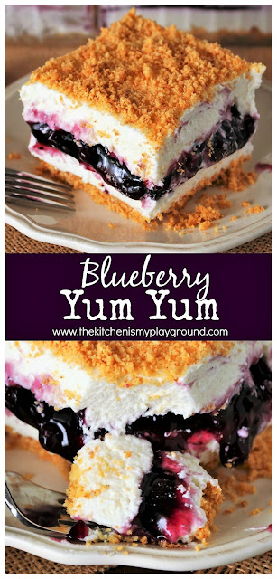 No-Bake Blueberry Yum Yum ~ With two fluffy layers sandwiching a layer of blueberry pie filling, this Southern classic is no-bake deliciousness at its best!  www.thekitchenismyplayground.com
