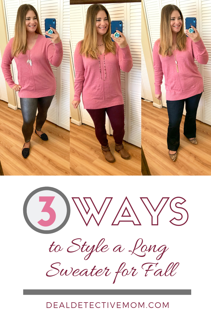 I show you three ways to style my new favorite sweater from Old Navy. The length is perfect- long enough to wear with leggings but not so long that it looks like a dress. The material is soft and the fit is true to size.