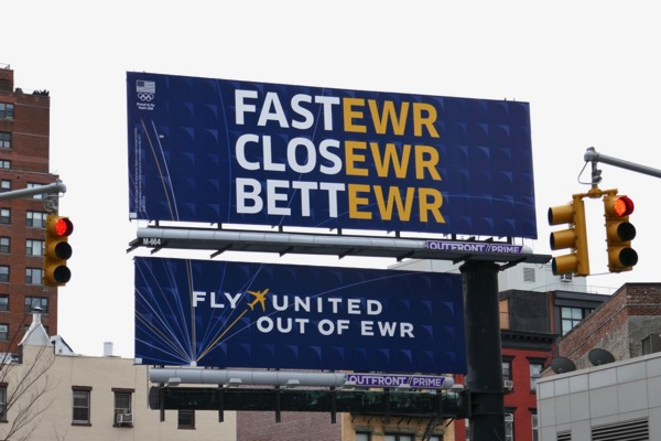 Fly United out of EWR billboard NYC