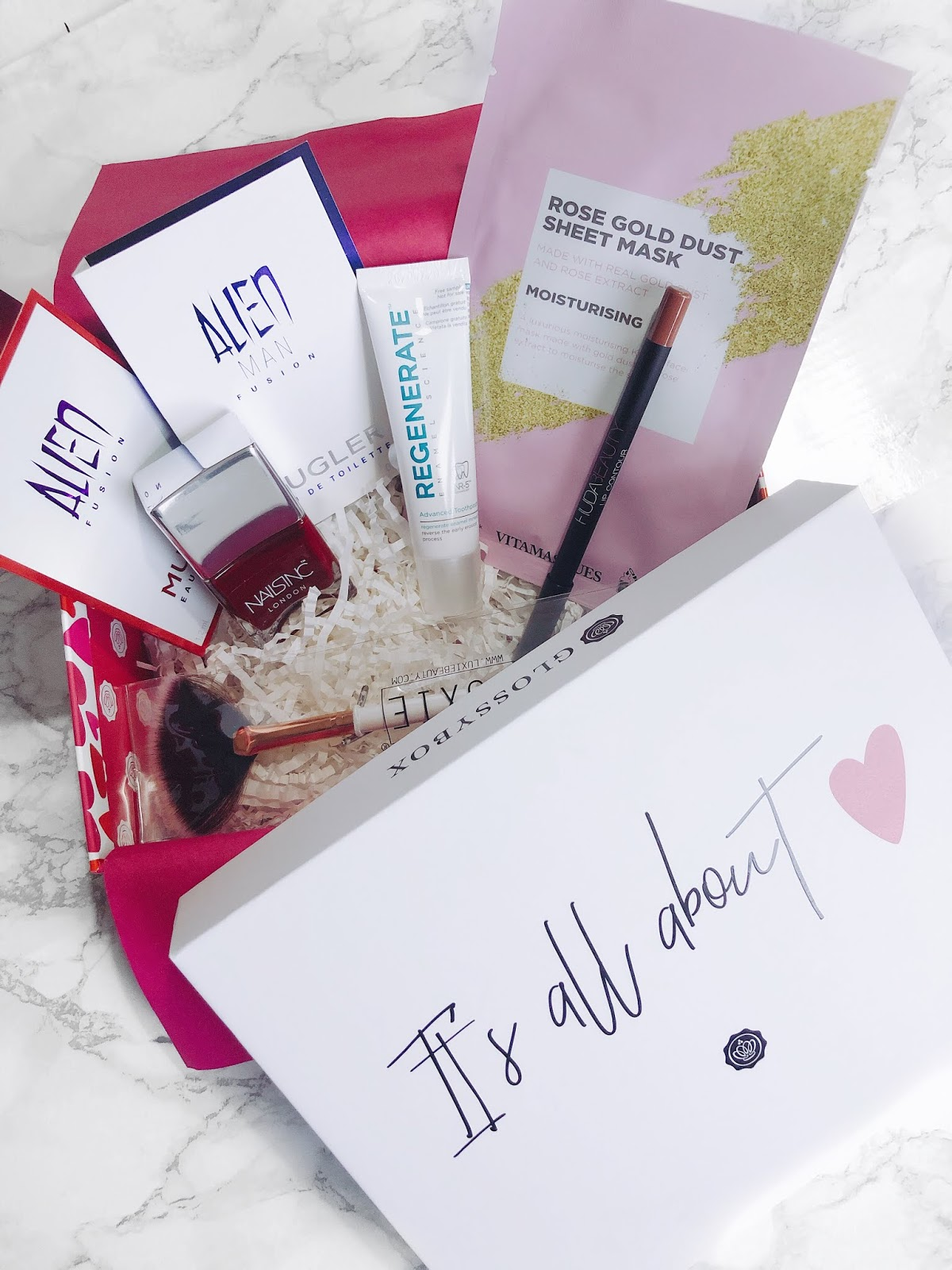 glossybox, nails inc, luxie beauty, mugler, vitamasques, regenerate toothpaste