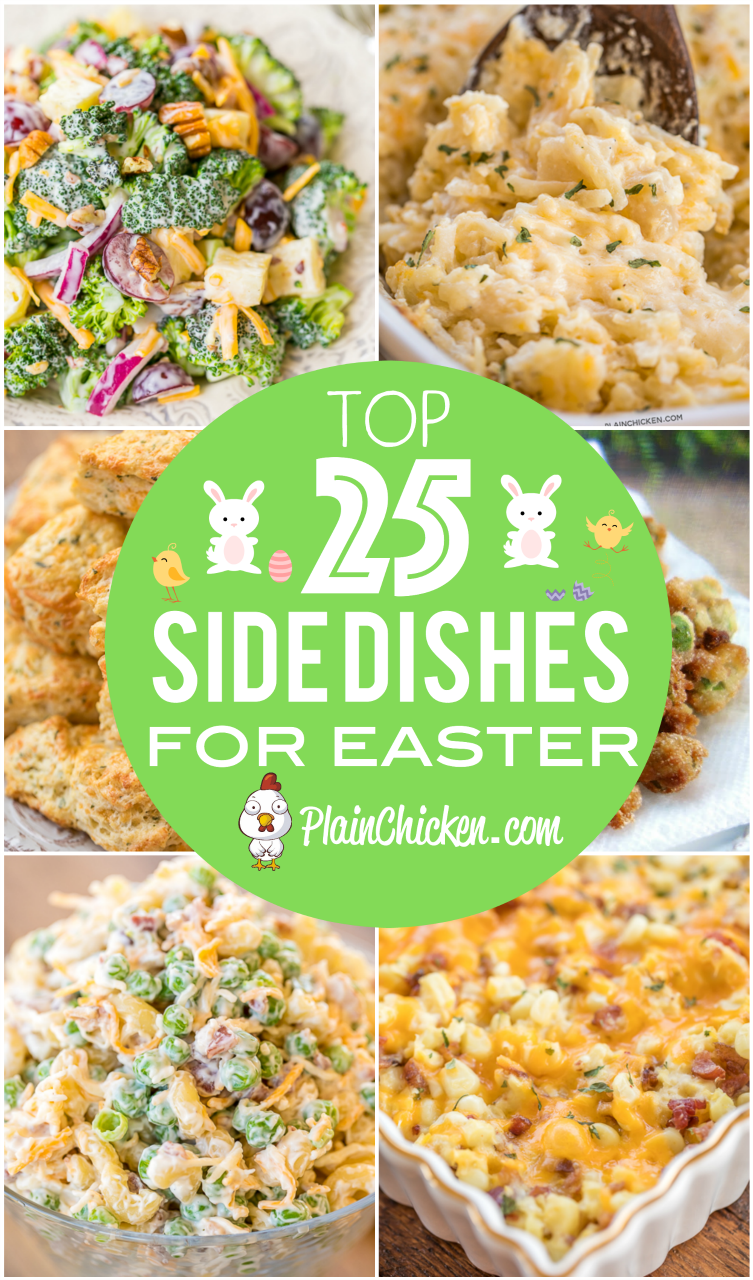 Top 25 Easter Side Dishes - vegetables, potatoes, mac and cheese, breads - something for everyone at your holiday table. Lots of the recipes can be made ahead of time and frozen until dinner. You don't want to miss these recipes! #easter #sidedish