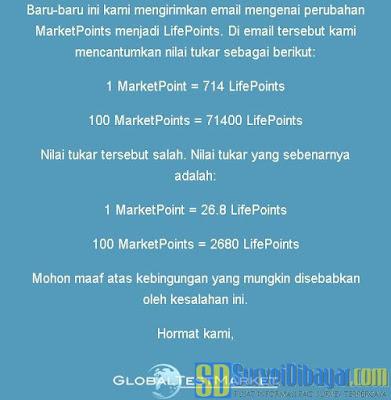Perhitungan konversi MarketPoints ke LifePoints | SurveiDibayar.com