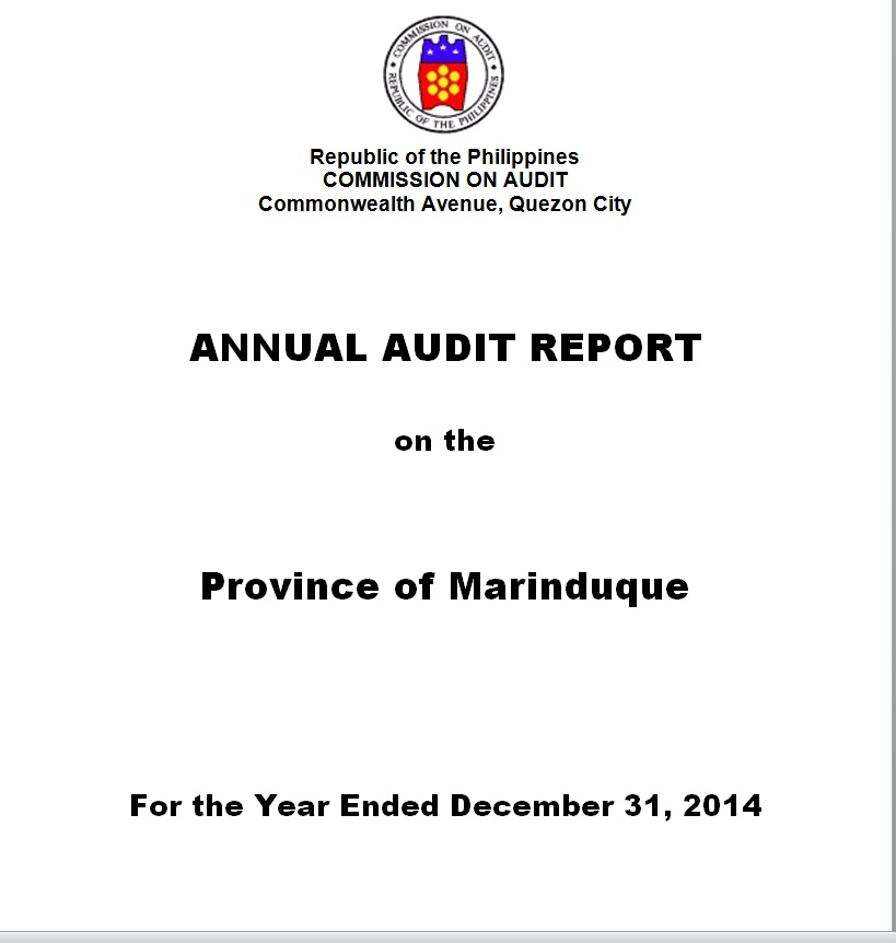 COA on Marinduque Annual Audit Report 2014: Unspent money