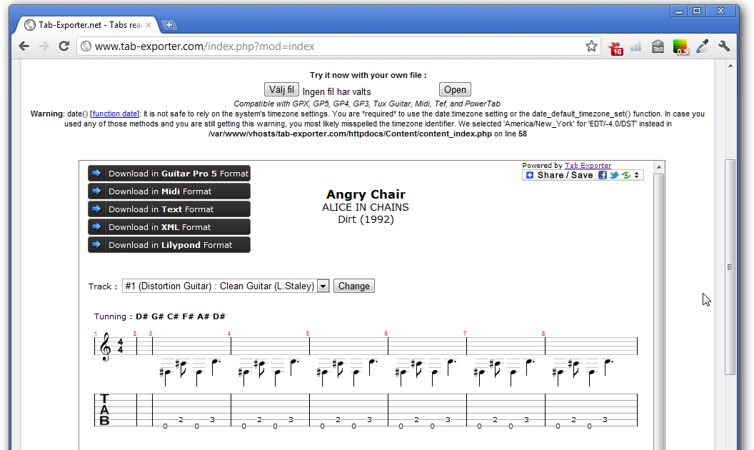 Open and convert Guitar Pro 6 /  GPX tab files in your web