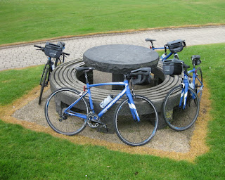 Bicycles encircling a picnic table, Ballycastle, Northern Ireland