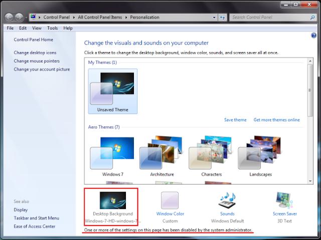 Cara Mengunci Wallpaper Pada Desktop Windows 7