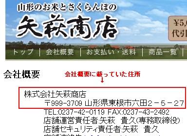 矢萩商店(楽天市場)の会社概要に載っていた住所の画像