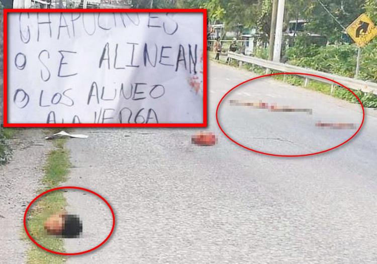 """""""Chapulines o se alinea o los alineo"""", Sicarios dejan regado un cuerpo destazado junto a narcomensaje en Tlaltizapán"""