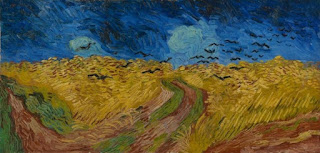 Van Gogh painting. Swirly yellow field with dark blue sky above. Thirty or so simplistic black birds flying.