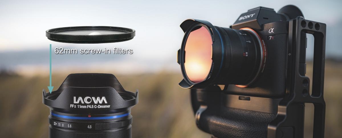 Фотоаппарат, объектив и фильтр 62 мм