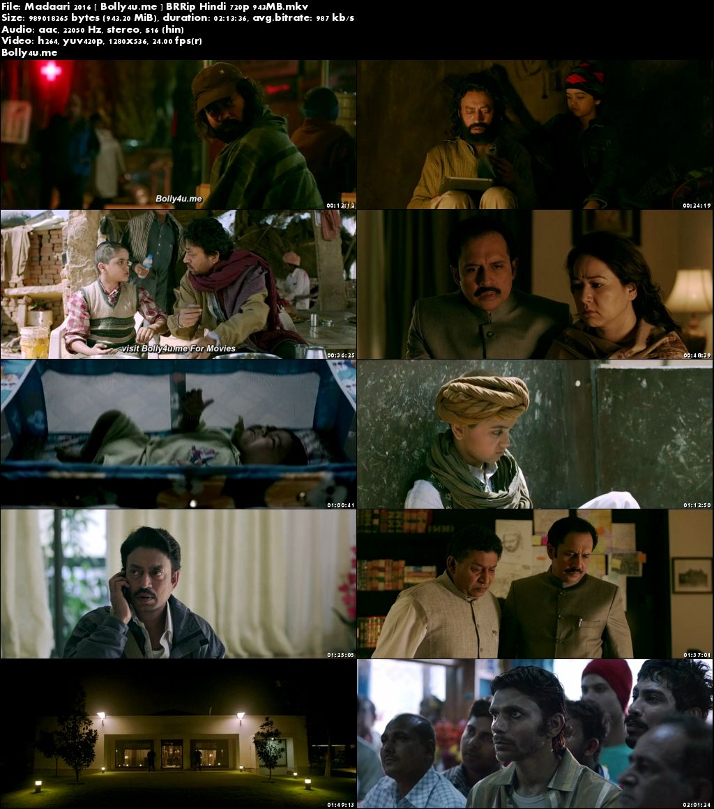 Madaari 2016 BRRip 950MB Full Hindi Movie Download 720p