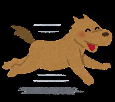 走る犬のイラスト(笑顔)