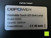 Information: DBPOWER® Oberfl chenlichtquelle, Dimmbar, Augenschutz, LED-Schreibtischlampe (6W, 800LUX, 3-Level-Dimmer, Flexible Arm, schwarz)