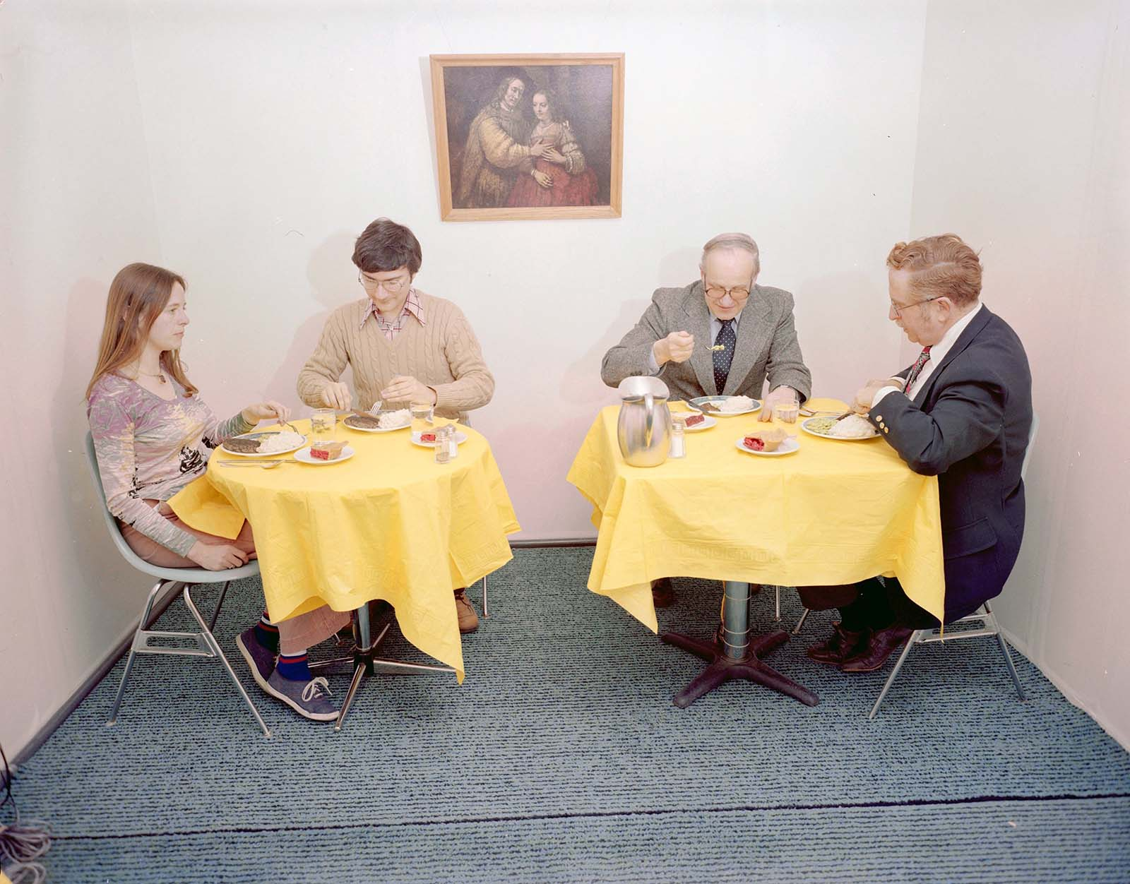 Eating chamber with test subjects, 1978.