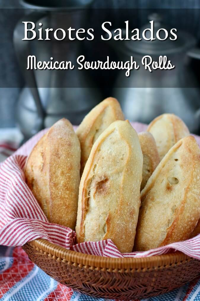 Birotes Salados - Mexican Sourdough Rolls in a basket