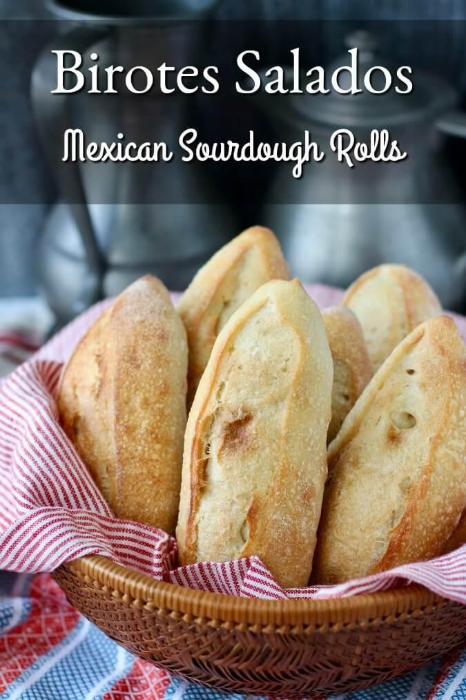 Birotes Salados - Mexican Sourdough Rolls in a basket