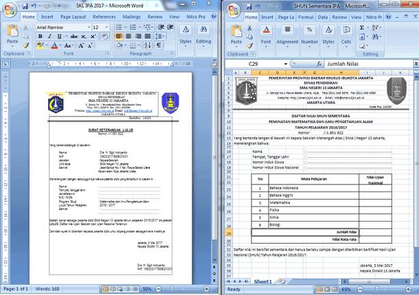 Contoh Surat Keterangan Lulus dan SHUN Sementara SMA IPA IPS