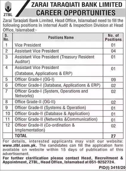 ZTBL Jobs 2021 Apply Online Officer Grade-I-II and Assistant Vice Presidents Zarai Taraqiati Bank Limited