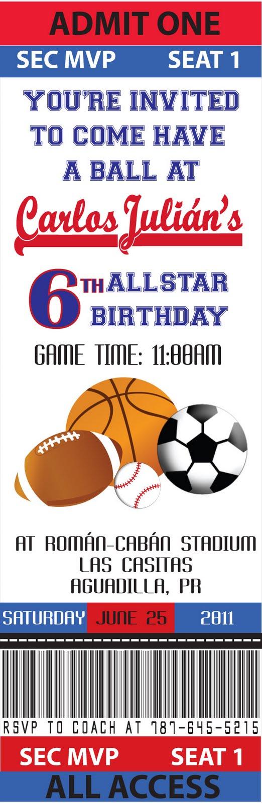 all star sports ticket invitations template