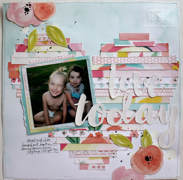""" Love Today"" layout by Bernii Miller for Scrapping Clearly using Pink Paislee Fancy Free collection."