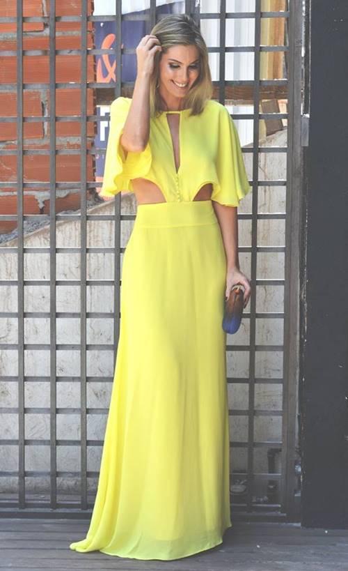 vestido longo amarelo claro para casamento