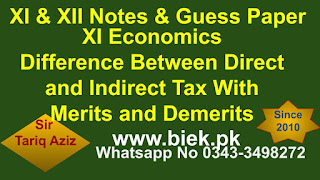XI Economics Difference Between Direct and Indirect Tax With Merits and Demerits