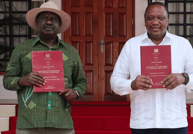 Raila and Uhuru with BBI document in Bomas of Kenya photo