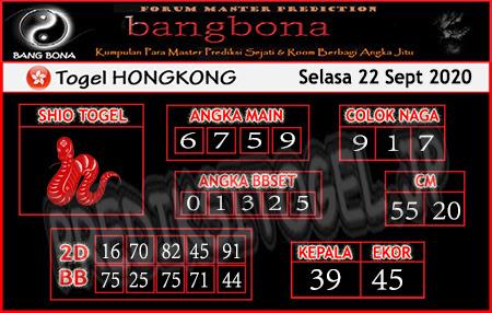 Prediksi Bangbona HK Selasa 22 September 2020