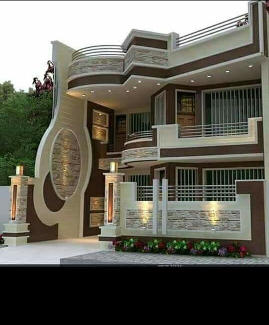 Best 60 Modern House Front Facade Design Exterior Wall | Home Front Stairs Design | Outside Stair | Double Floor | Building | Balcony | Beautiful