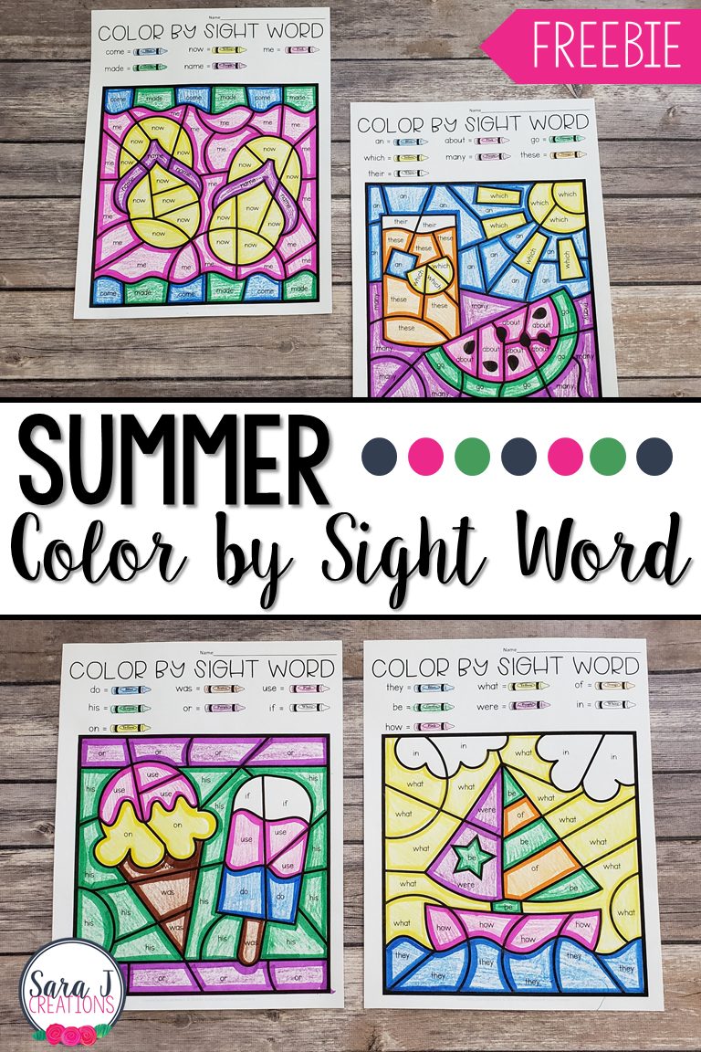 Download your FREE summer color by sight word pages here! Don't miss out on this awesome way to review and read sight words. Make learning and practicing these high frequency words even more fun for your students.