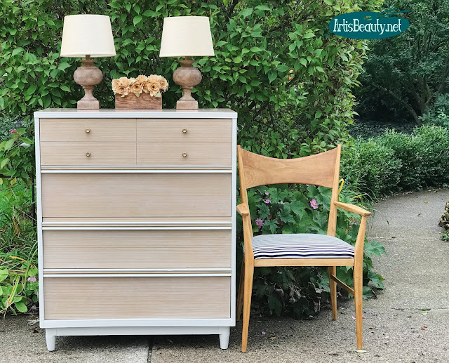 Mid Century Modern dresser given a makeover using General Finishes Reverent gray milk paint