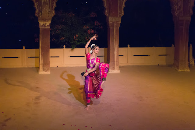 Bharatnatyam dancer performing at Neemrana Fort Palace in Rajasthan India
