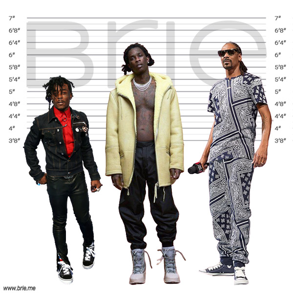 Young Thug height comparison with Lil Uzi Vert and Snoop Dogg