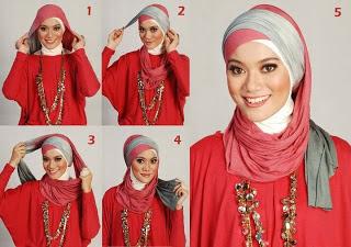 Gambar Tata Cara Memakai Jilbab Modern Pashmina Kerudung