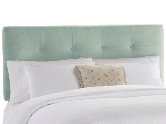 Eight button headboard in pool blue velvet starting at 299 at home decorators