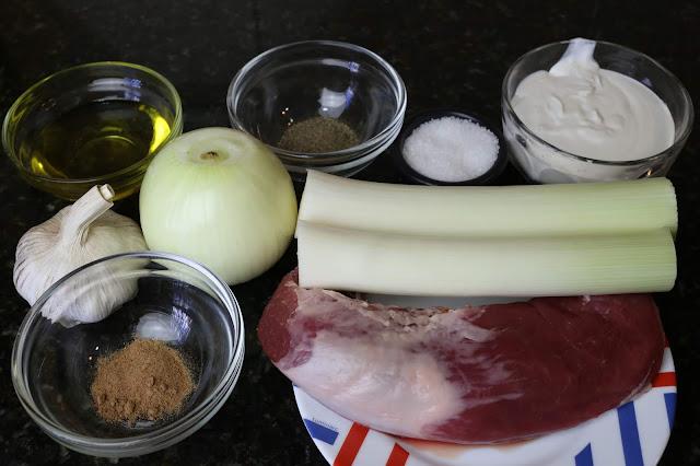 Ingredientes para solomillo con salsa de puerros