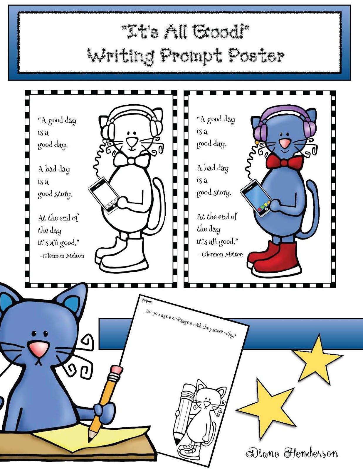 Pete The Cat S It S All Good Writing Prompt Poster Pack