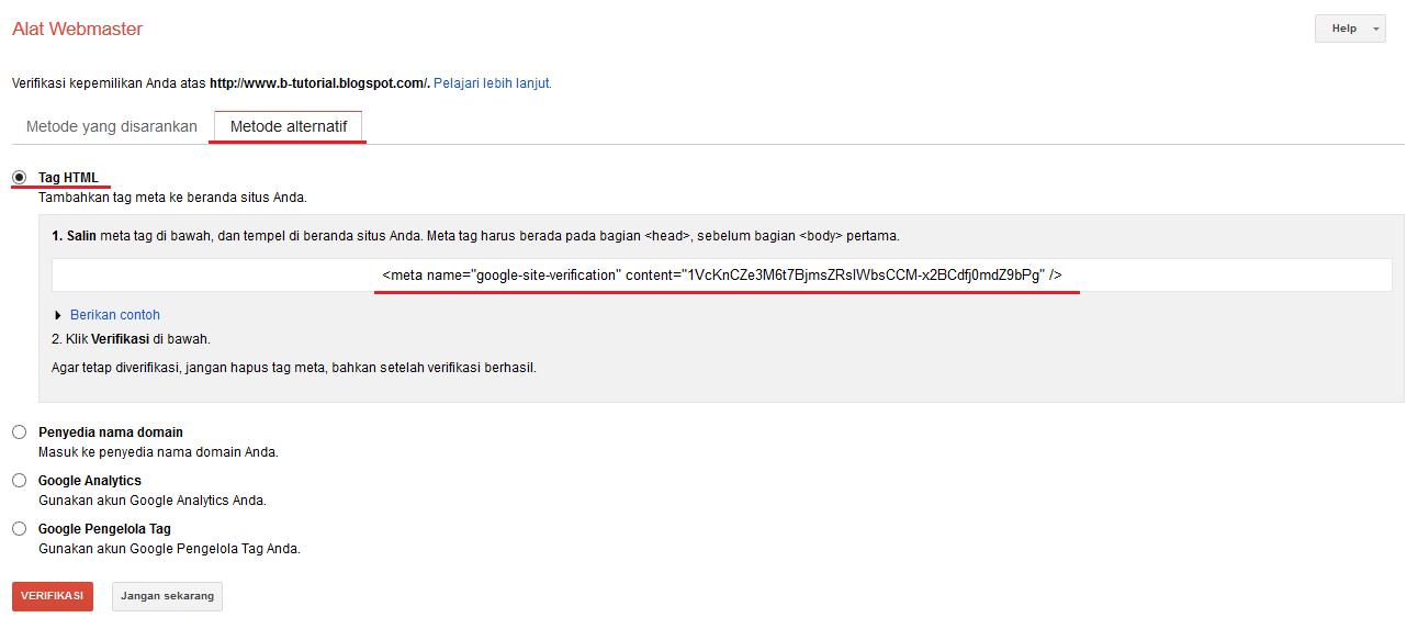 Verifikasi Kepemilikan Situs di Google Webmaster Tools